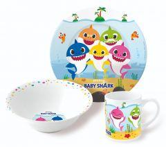 Barnesett i keramikk 3 deler, Baby Shark